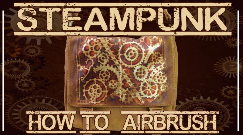 aerografo e steampunk con foglia oro tutorial su borsa